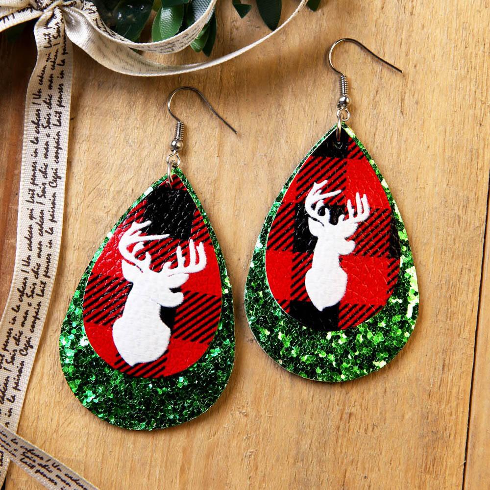 Earrings Christmas Elk Sequined Pendant Earrings. Size: One Size фото