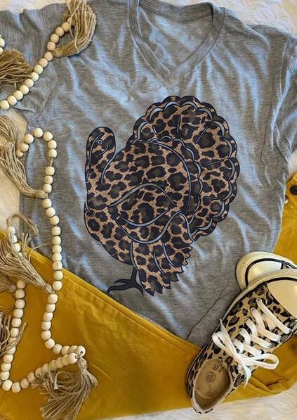 Leopard Printed Splicing Turkey T-Shirt Tee – Gray