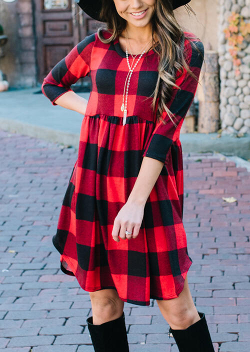 Plaid Splicing Ruffled Asymmetric Mini Dress without Necklace - Red фото