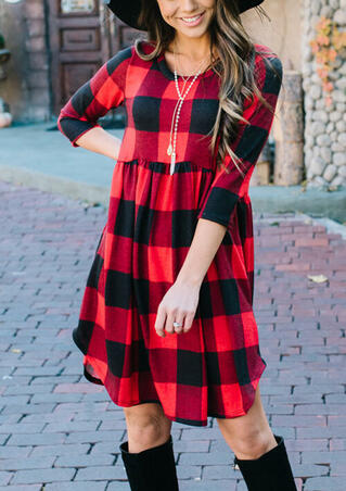 Plaid Splicing Ruffled Asymmetric Mini Dress without Necklace - Red