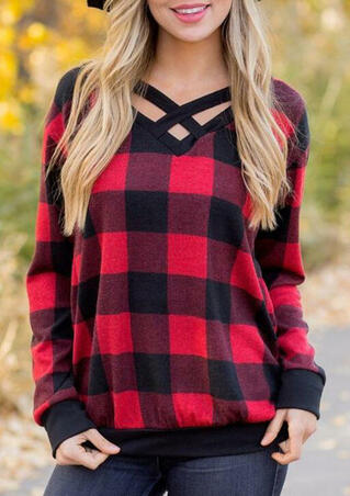 Plaid Splicing Criss-Cross Blouse - Red