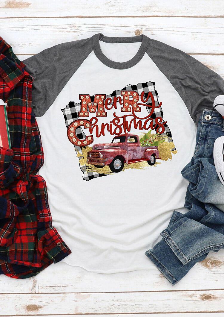 Merry Christmas Car O-Neck T-Shirt Tee – White