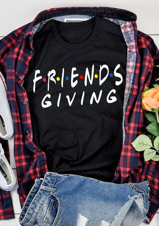 Friends Giving T-Shirt Tee - Black