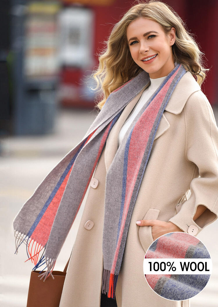 Feelily Striped Tassel Soft And Warm 100% Wool Scarf фото