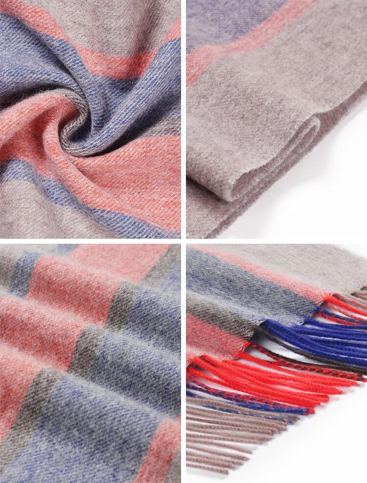 Feelily Striped Tassel Soft And Warm 100% Wool Scarf