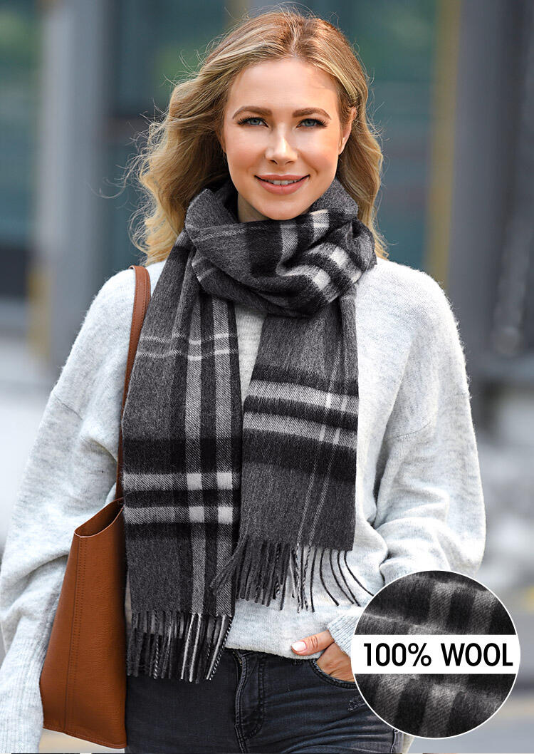 Feelily Classic Plaid Tartan Tassel 100% Wool Scarf фото