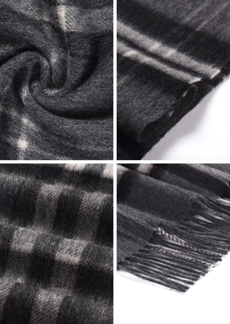 Feelily Classic Plaid Tartan Tassel 100% Wool Scarf