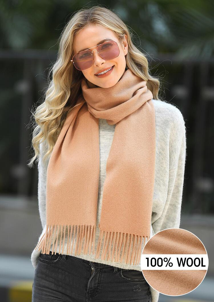 Scarves Feelily Tassel 100% Wool Scarf in Camel. Size: One Size фото