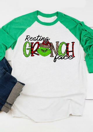 Leopard Plaid Splicing Resting Grinch Face Christmas T-Shirt Tee -  White