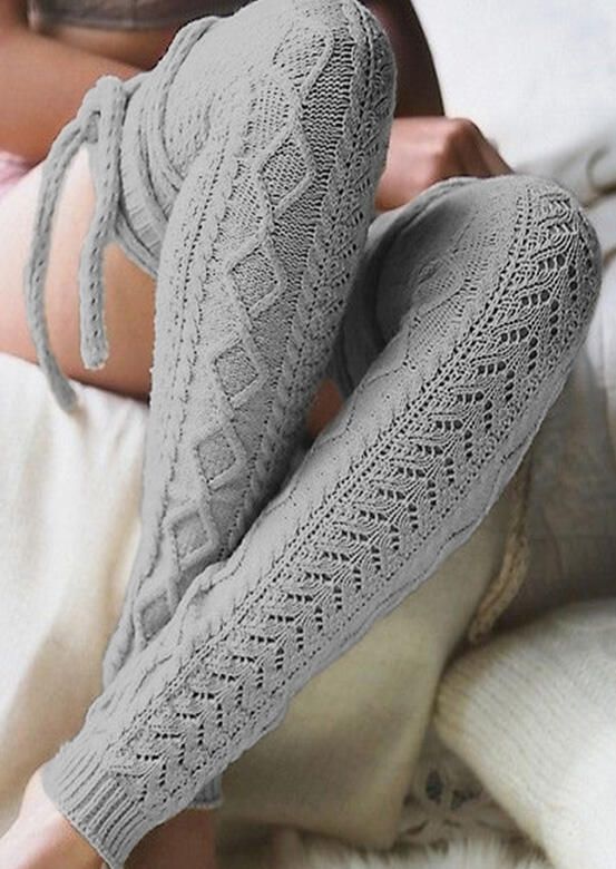 Tie Over Knee Knitting Warm Socks