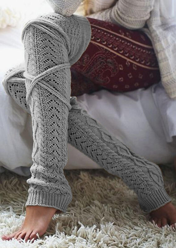 Solid Bow Over Knee Knitted Warm Socks