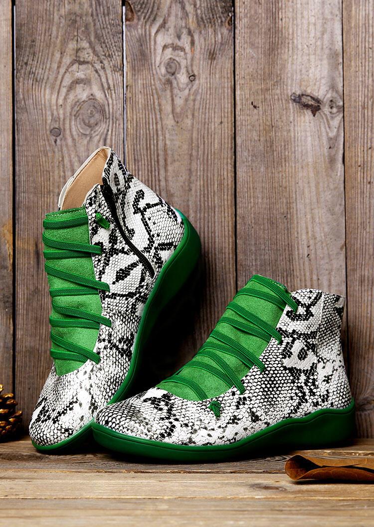 Snake Skin Leopard Printed Criss-Cross Zipper Boots