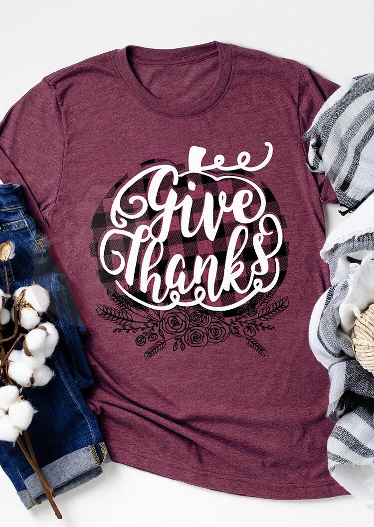 Give Thanks T-Shirt Tee – Cameo Brown