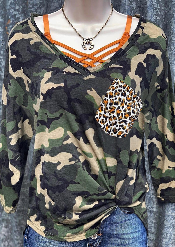 Camouflage Leopard Printed Pocket Blouse without Necklace And Strap