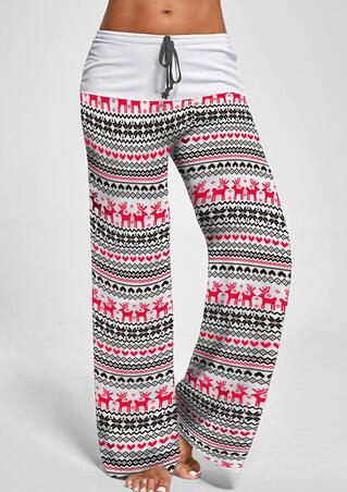 Christmas Elk Snowflake Drawstring Pants - White