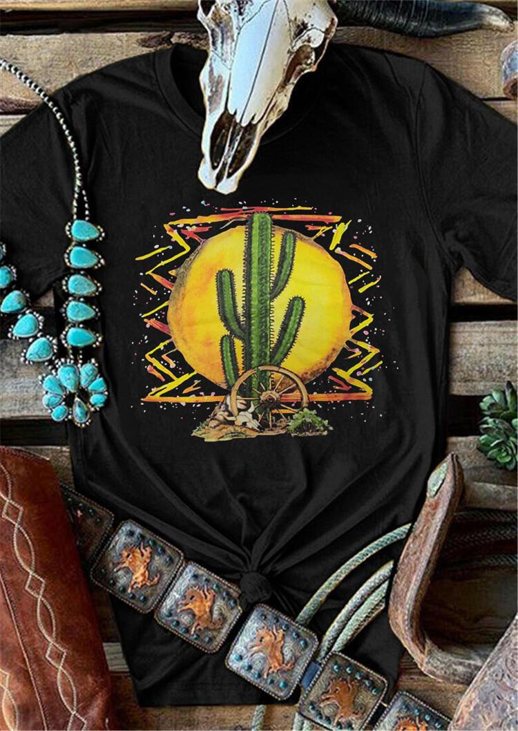 Sunset Cactus O-Neck T-Shirt Tee -Black