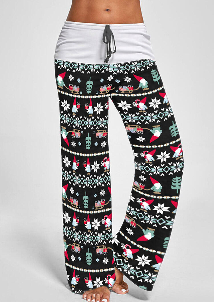 Santa Claus Snowflake Drawstring Pants – Black