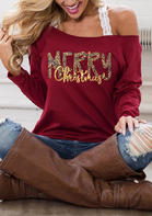 Merry Christmas Off Shoulder Blouse without Lace Strap - Burgundy