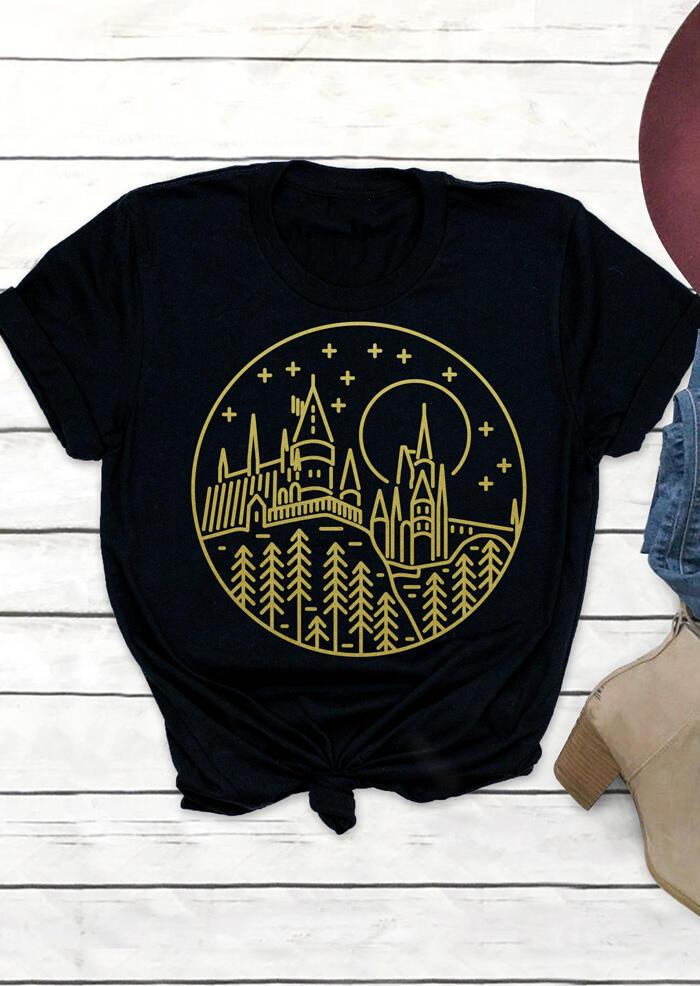 Castle Printed O-Neck T-Shirt Tee – Black