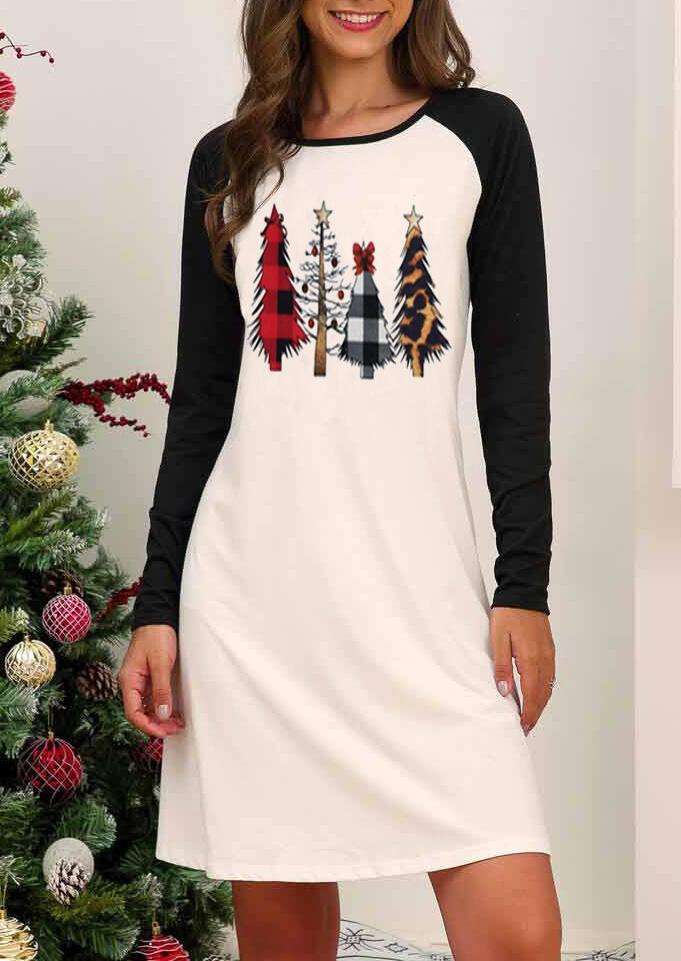 Plaid Leopard Printed Christmas Trees Mini Dress - White фото