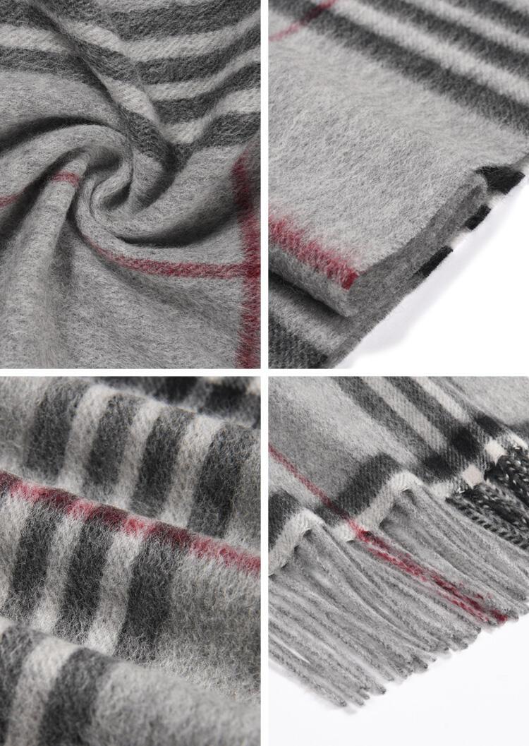 Feelily Plaid Tassel Warm Classic 100% Wool Scarf