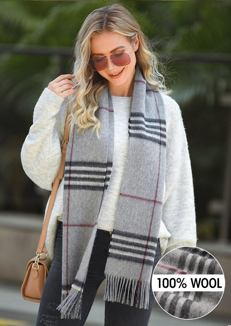 Scarves Feelily Plaid Tassel Warm Classic 100% Wool Scarf in Light Grey. Size: One Size фото