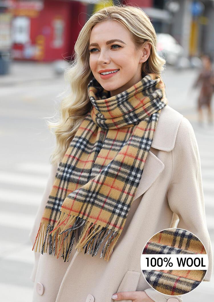 Feelily Plaid Tassel Soft Classic 100% Wool Scarf фото