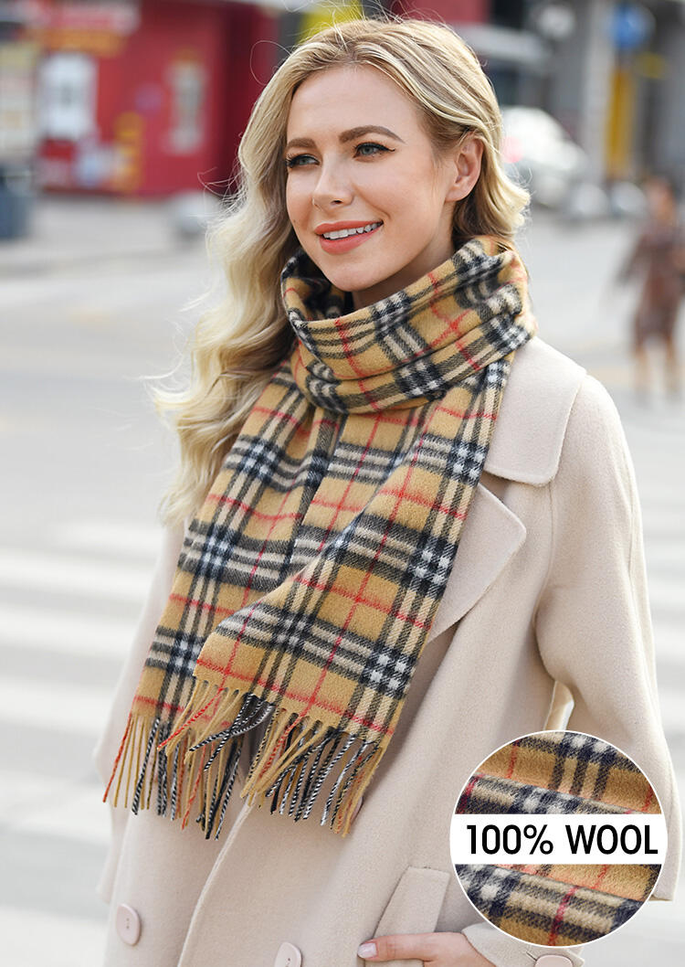 Scarves Feelily Plaid Tassel Soft Classic 100% Wool Scarf in Camel. Size: One Size фото