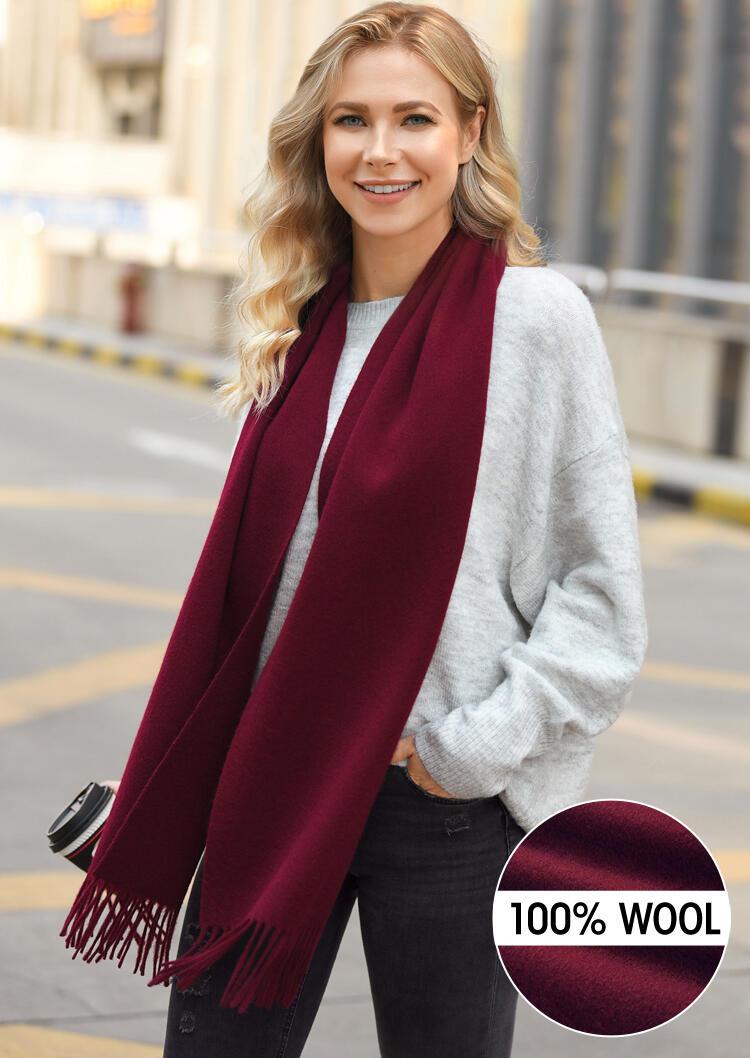 Scarves Feelily Tassel Soft Classic 100% Wool Scarf in Burgundy. Size: One Size фото
