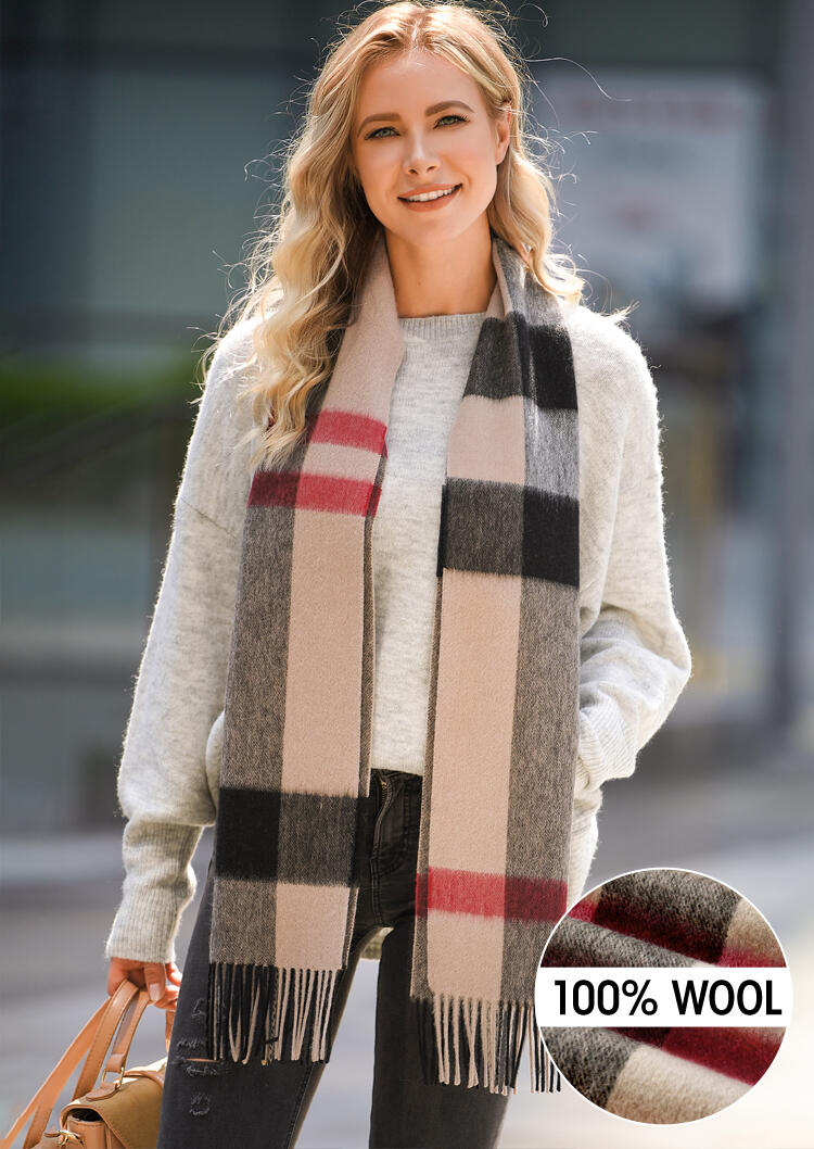 Scarves Feelily Plaid Tartan Tassel Soft Classic 100% Wool Scarf in khaki. Size: One Size фото