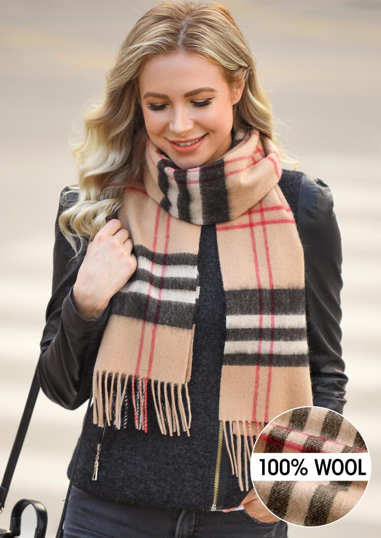 Scarves Feelily Plaid Tartan Tassel Soft Classic 100% Wool Scarf in Camel. Size: One Size фото