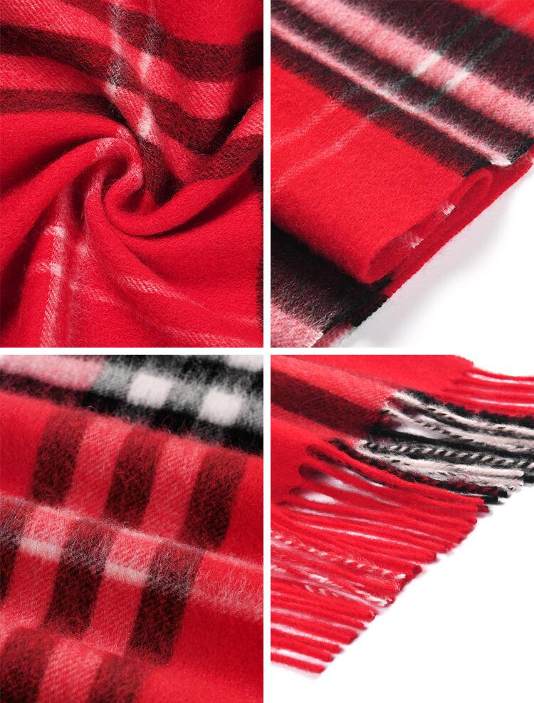 Feelily Plaid Tartan Tassel Soft 100% Wool Scarf
