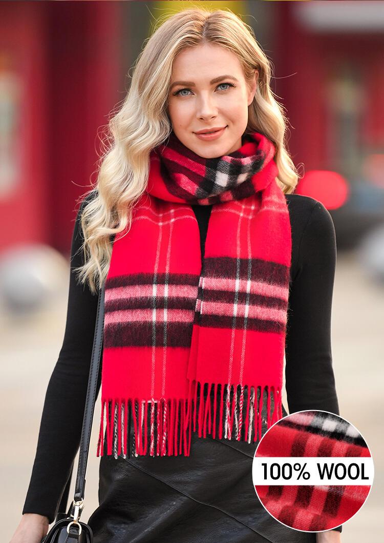 Feelily Plaid Tartan Tassel Soft 100% Wool Scarf фото