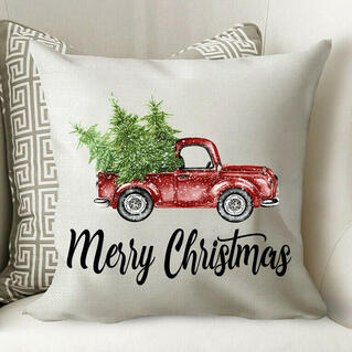 Tree Car Merry Christmas Pillowcase without Pillow