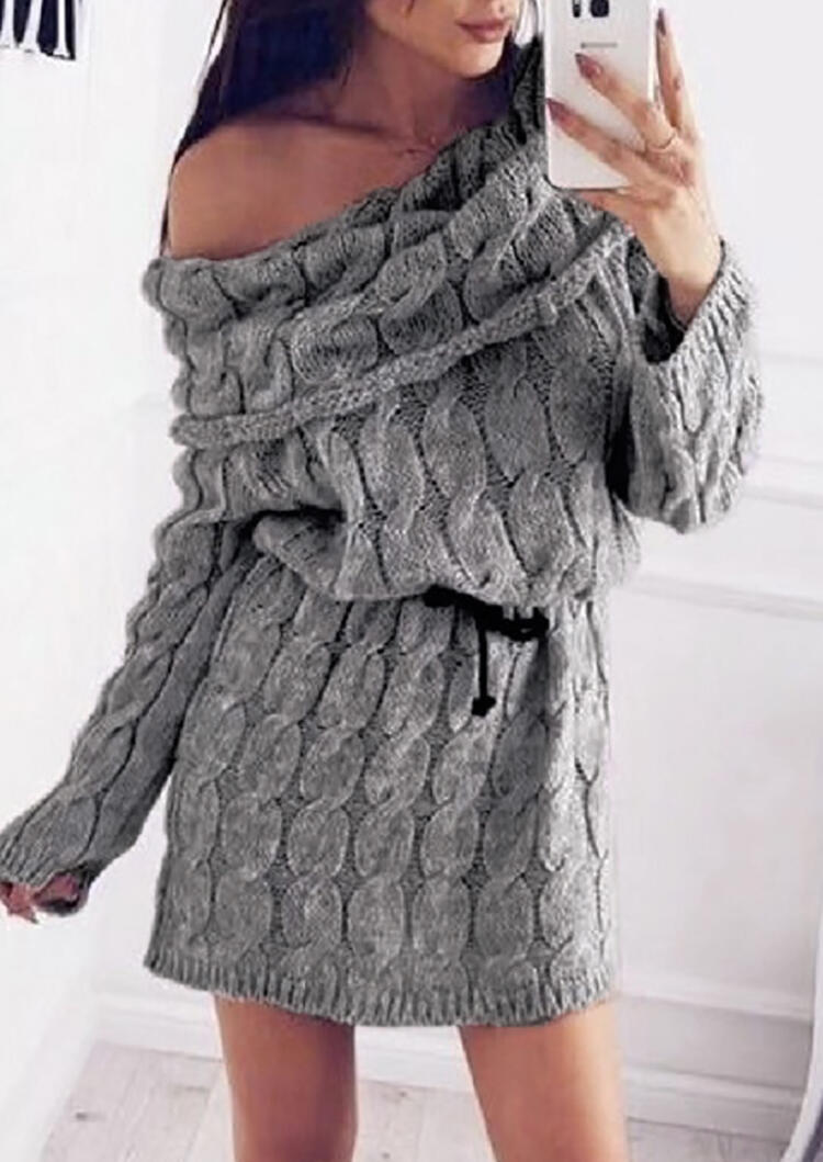 Solid Cowl Neck Knitted Mini Dress With Belt – Gray