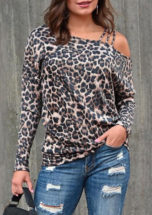Leopard Hollow Out One Shoulder Blouse