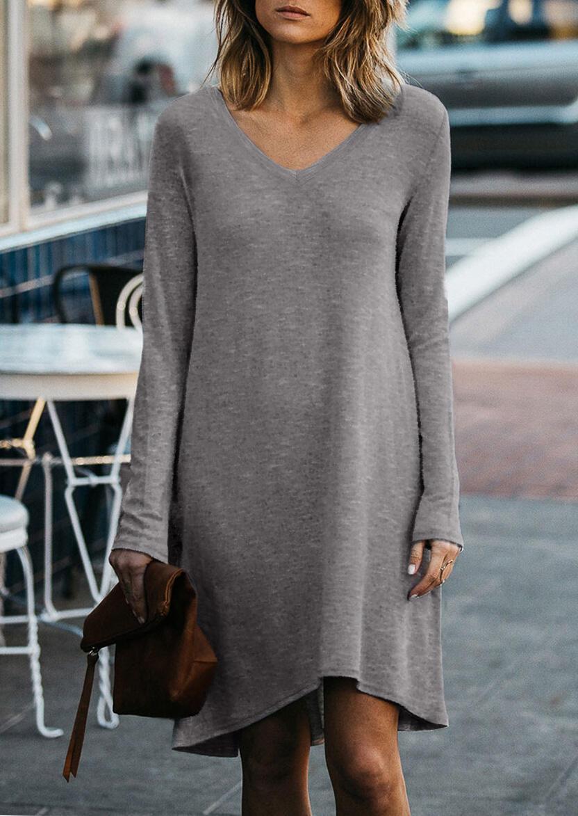 Solid V-Neck Long Sleeve Mini Dress – Gray
