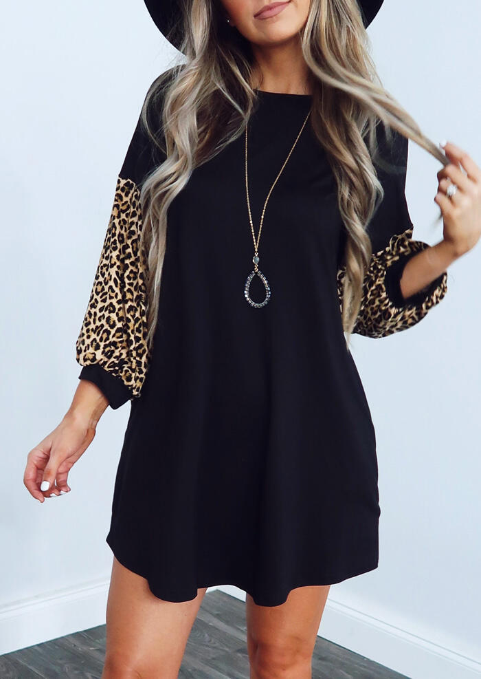 Leopard Printed Splicing Mini Dress without Necklace – Black