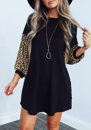 Leopard Printed Splicing Mini Dress without Necklace - Black