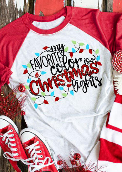 Tees T-shirts My Favorite Color is Christmas Lights T-Shirt Tee - White. Size: S фото