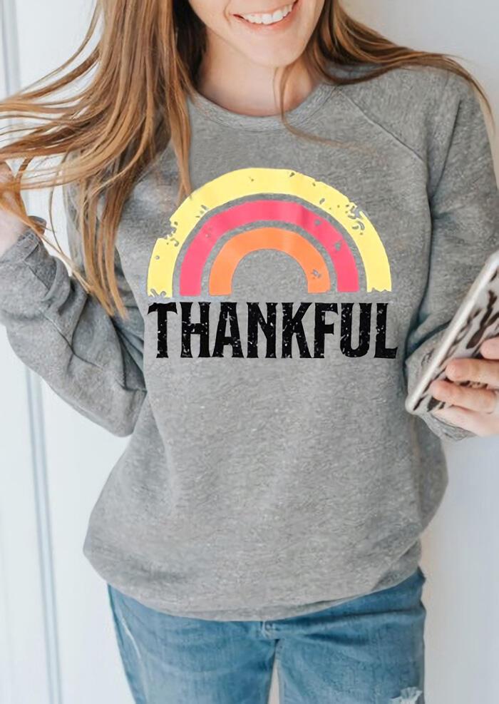 Rainbow Thankful O-Neck Sweatshirt – Light Grey