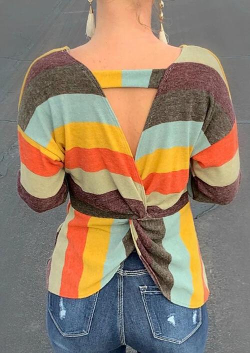 Striped Open Back Twist Blouse – Multicolor