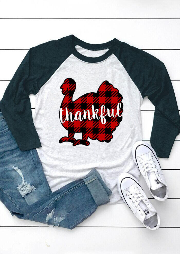 Thankful Plaid Turkey T-Shirt Tee – Light Grey