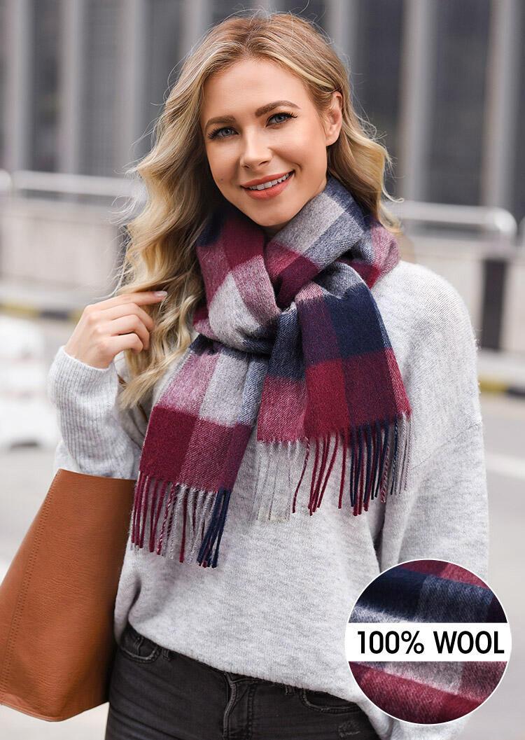 Feelily Plaid Tartan Tassel Warm 100% Wool Scarf фото