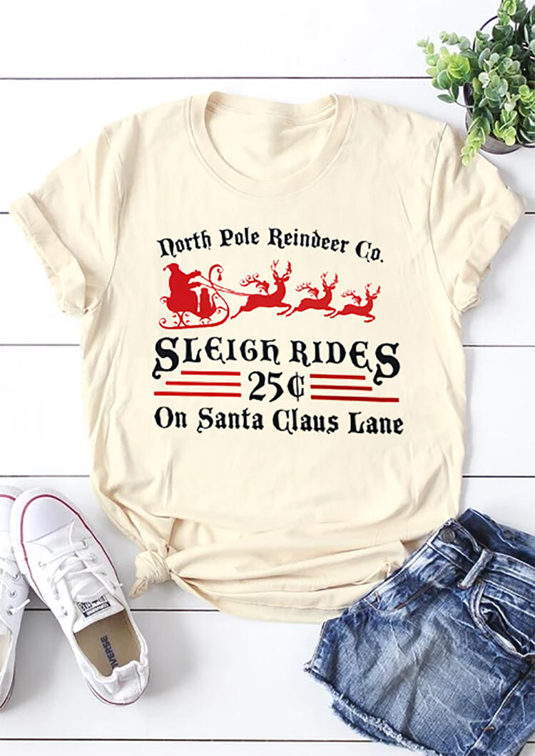 Christmas North Pole Reindeer Co. Sleigh Rides On Santa Claus Lane T-Shirt in Cream. Size: S,XL фото