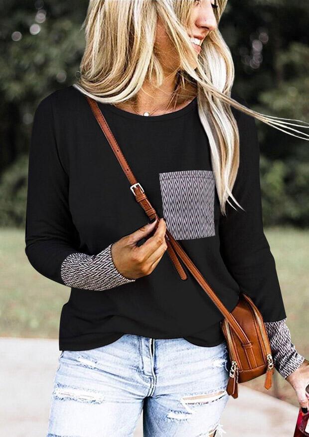 Geometric Pocket O-Neck Blouse without Necklace – Black