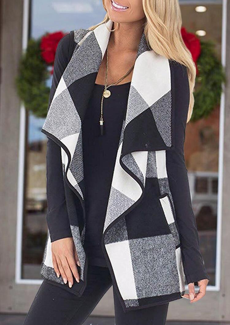 Plaid Pocket Sleeveless Vest Cardigan without Necklace - Black фото