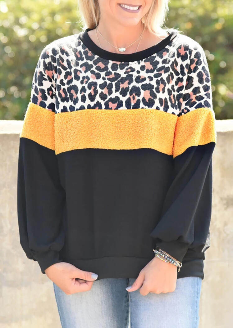 Leopard Printed Color Block Splicing Sweatshirt without Necklace