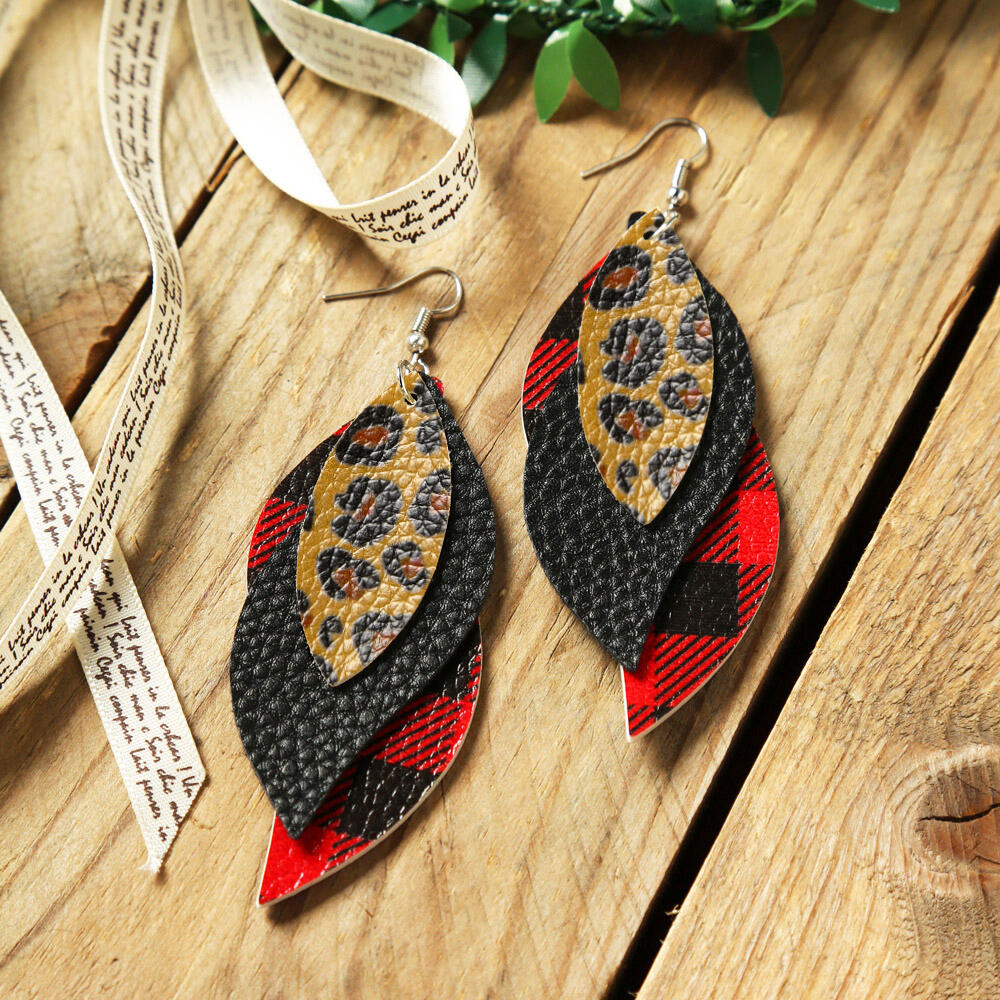 Plaid Printed Leaf Multi-Layered Leather Earrings фото