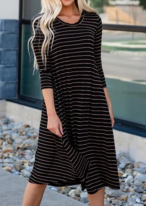 Striped Three Quarter Sleeve Casual Dress – Black